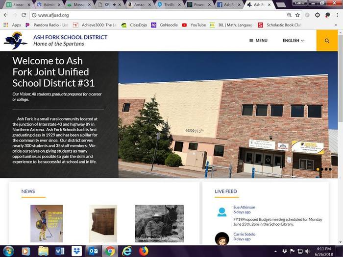 Screenshot of Ash Fork Schools Website