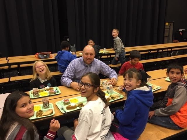 Mr. Staples eating with students!