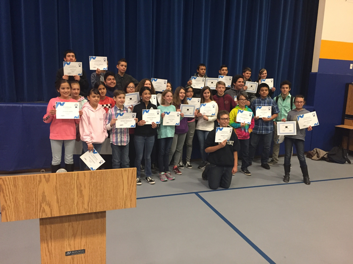 Middle School students who received an award