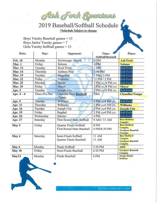 2019 Baseball and Softball Schedule