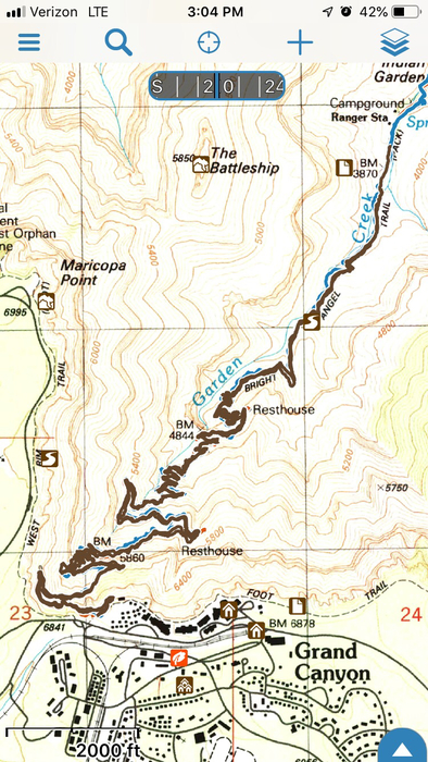 Map of trails at the Grand Canyon